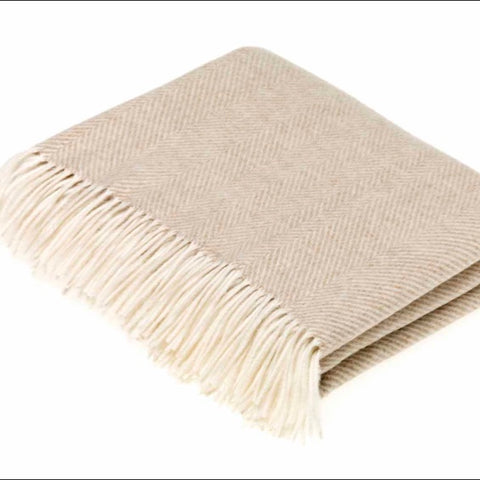 Beige Lambswool Herringbone Throw by Bronte by Moon