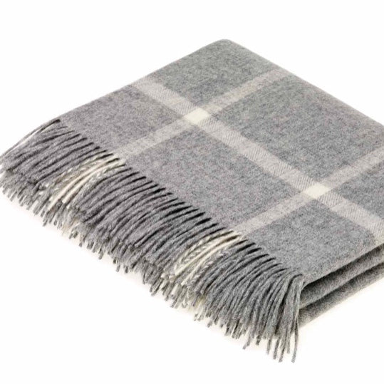 Grey Lambswool Window Pane Check Throw by Bronte by Moon