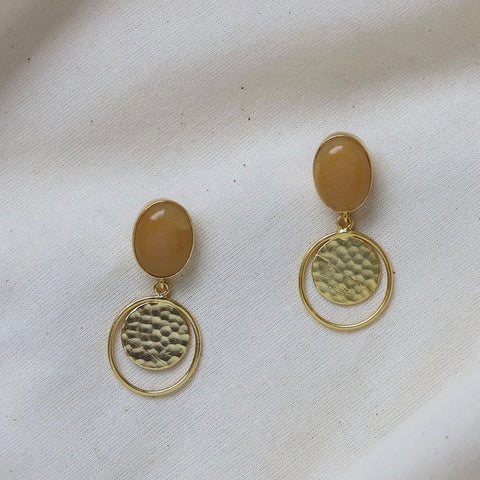Ochre and Gold Drop Earrings