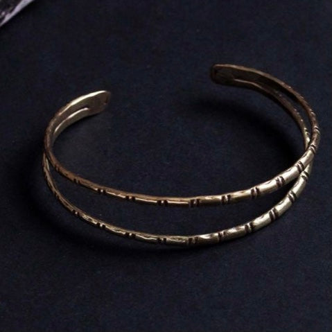 Double Row Hammered Metal Bangle