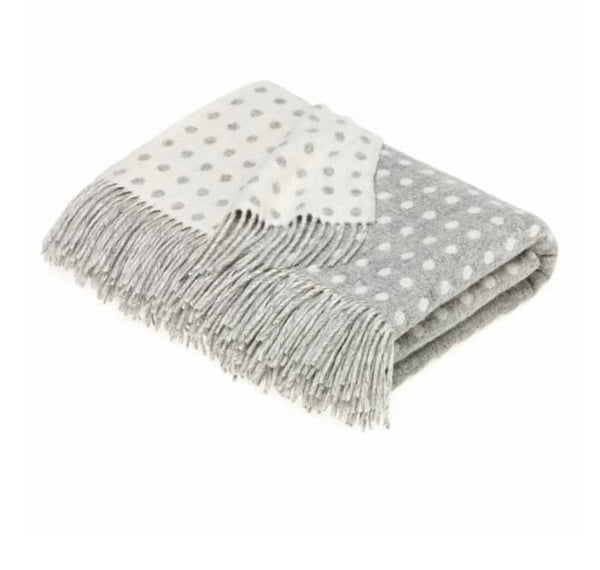 Grey and Cream Spot  Lambswool Throw