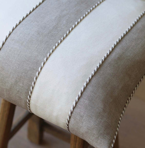 Corded Taupe and Cream Stripe Cushion