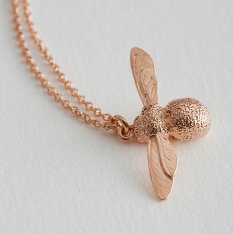 Alex Monroe Rose Gold Baby Bee Necklace