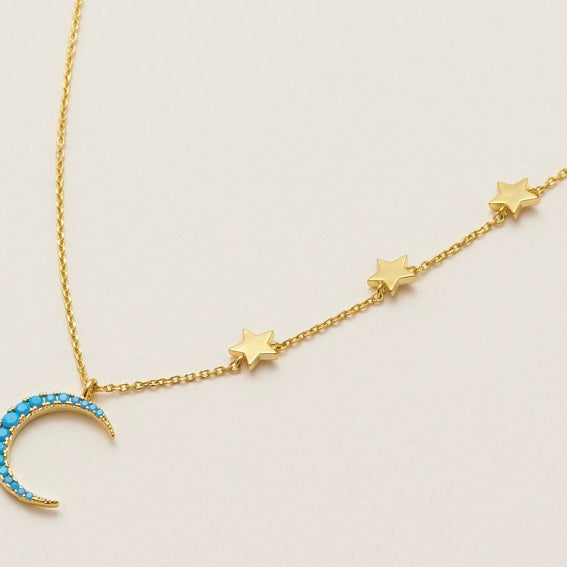 Moon and Stars Turquoise Pendant Necklace by Estella Bartlett