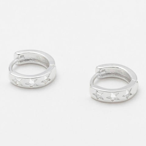 Cut Out Star Huggie Hoop Silver Plated Earrings