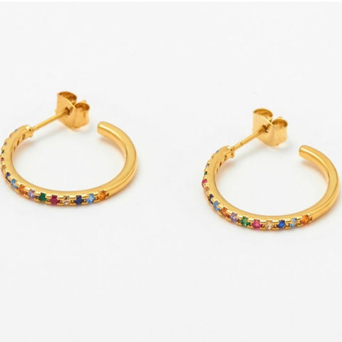 Pave Set Rainbow Hoop Earrings by Estella bartlett