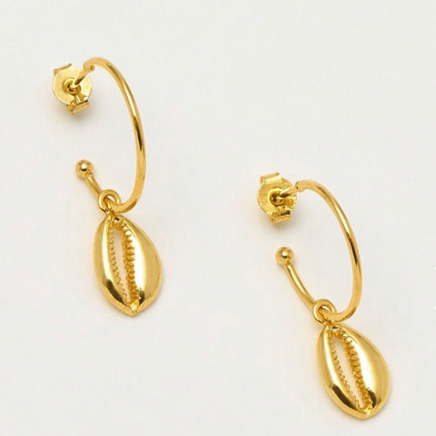 Shell Drop Gold Plated Hoop Earrings by Estella Bartlett