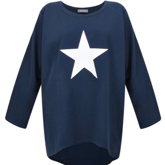 Navy Oversize Top with White Star by Chalk UK