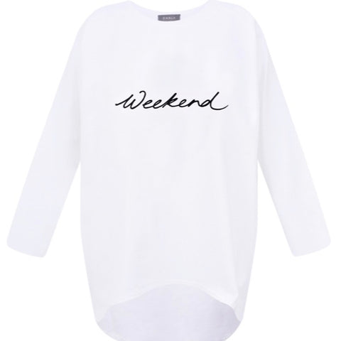 White Oversize Top with Weekend Graphic by Chalk UK