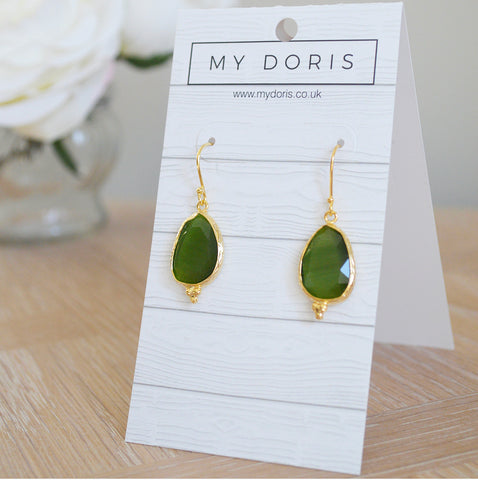 Gold Plated Green Stone Earrings