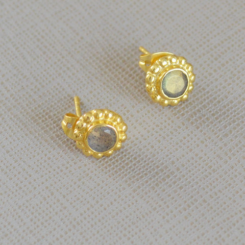 Gold Plated Grey Stud Earrings
