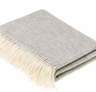 Grey Herringbone Lambswool Throw