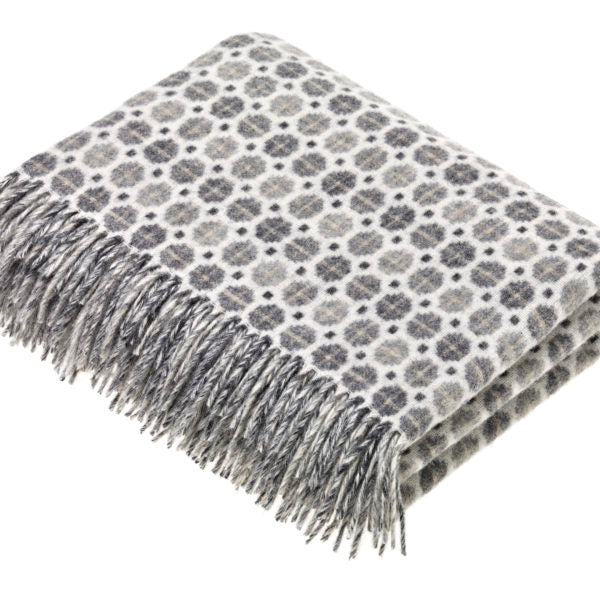 Grey Geometric Design Lambswool Throw