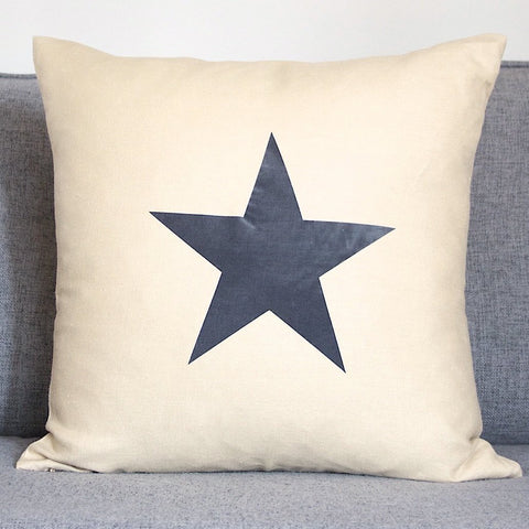 Stone Linen Cushion with Navy Star