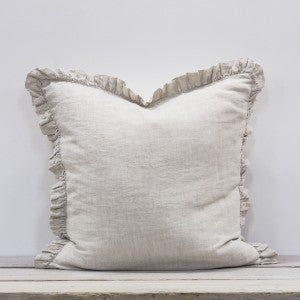 Large Natual Linen Ruffle Cushion