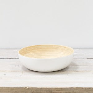 Bamboo and White Lacquer Serving Bowl