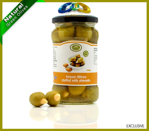 Premium Almond Stuffed Green Olives - 290g - OLYMPICCO.COM