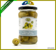 Premium Garlic Stuffed Green Olives - 290g - OLYMPICCO.COM