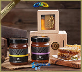 MELIMNOS - Greek Raw Wild Flower Honey - 24k Gold-Plated in Luxury Wooden Gift Box - OLYMPICCO.COM