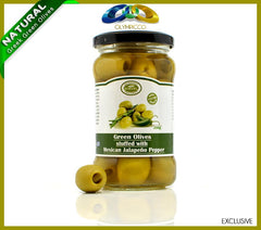 Premium Jalapeno Stuffed Green Olives - 290g - OLYMPICCO