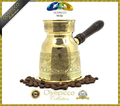 Greek Turkish Coffee Pot Solid Brass 3mm - Olympicco Collection - 16 Oz - OLYMPICCO.COM