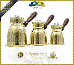 Greek Turkish Coffee Pot Solid Brass 3mm - Olympicco Collection - Pack of 3 - OLYMPICCO.COM