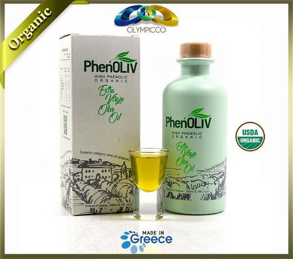 PhenOLIV Organic Extra Virgin Olive Oil, High Phenolic Content 2563mg/kg, USDA Certified 100% Pure EVOO (200ML) - OLYMPICCO.COM