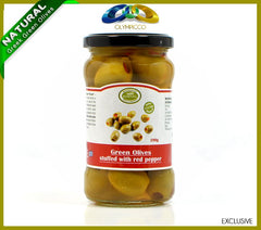 Premium Red Pepper Stuffed Green Olives - 290g - OLYMPICCO.COM