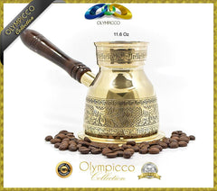 Greek Turkish Coffee Pot Solid Brass 3mm - Olympicco Collection - 11.6 Oz - OLYMPICCO.COM