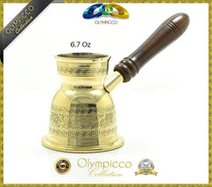 Greek Turkish Coffee Pot Solid Brass 3mm - Olympicco Collection - 6.7 Oz - OLYMPICCO