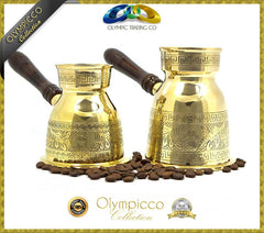 Greek Turkish Coffee Pot Solid Brass 3mm - Olympicco Collection - Pack of 2 - OLYMPICCO.COM