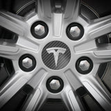 Tesla Wheel Sticker ROUND Decal - Carbon Fiber and Colors