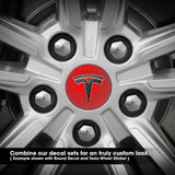 Tesla Wheel Sticker Decal - Reflective Red