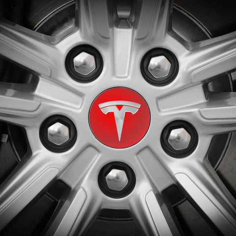 Tesla Wheel Sticker ROUND Decal - Reflective Red