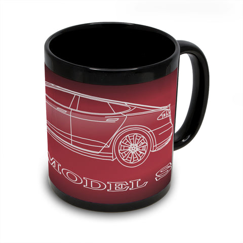 Tesla Model S Black Coffee Mug