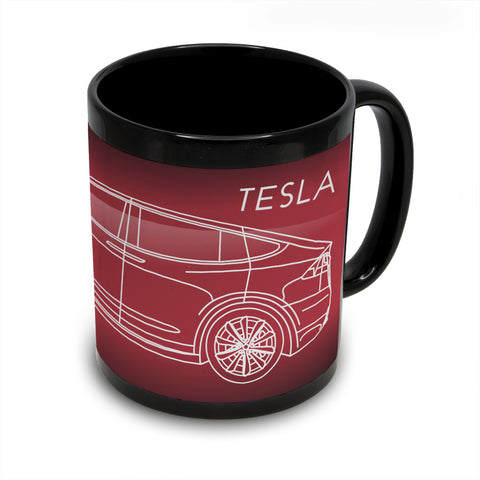 Tesla Model X Black Coffee Mug
