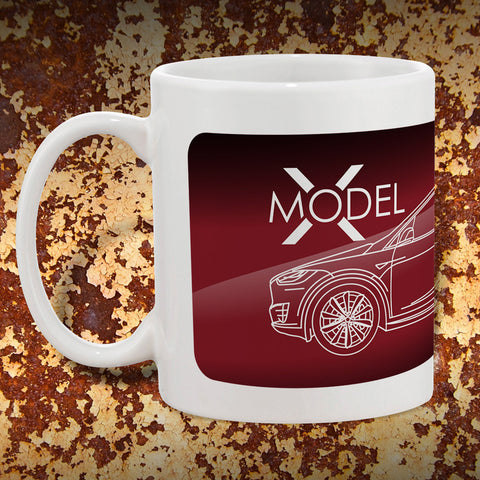 Tesla Model X Mug | Tesla Coffee Mugs | Red
