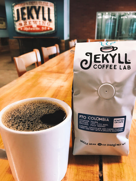 Jekyll Coffee Lab - 12 Ounce Whole Bean Colombian, Jack Daniels Colombian, and Kenyan