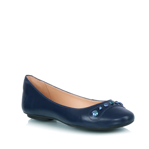 Leather ballet flats, blue