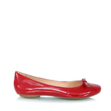Leather ballet flatas, red