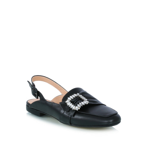 Crystal buckle leather shoes, black