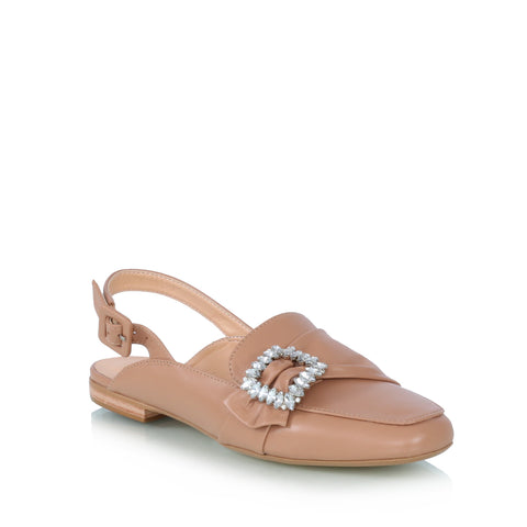 Crystal buckle leather shoes, nude