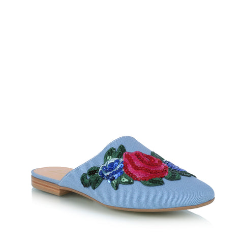 Embroidered open loafer, blue