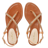 Brown Leather Flat Sandals with Chain & Studs