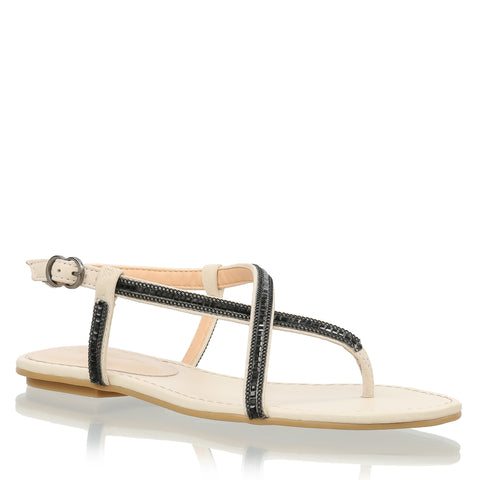 White leather flat sandals with Chain & Studs