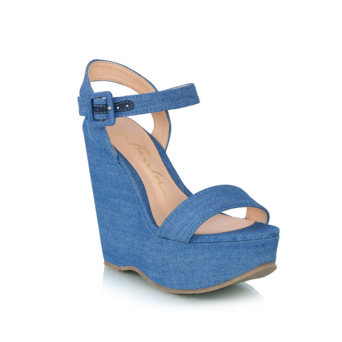Denim plataform wedge sandals