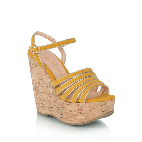 Sued plataform wedge sandals, yellow