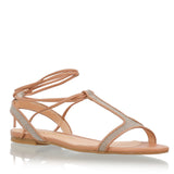 T-Strap Lace-up flat sandals, nude & glitter