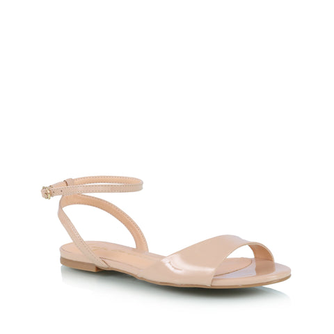 Ankle-wrap flat sandals, nude