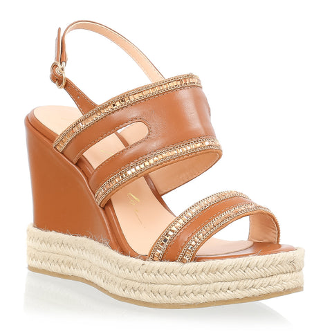 Brow Leather Plataform Wedge Sandals with chain & studs
